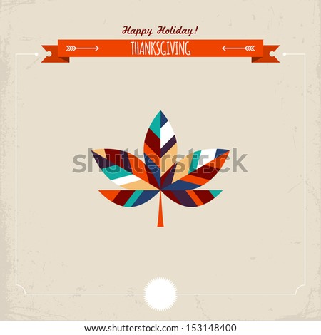 Thanksgiving holiday greeting card with maple leaf. Vector illustration - stock vector