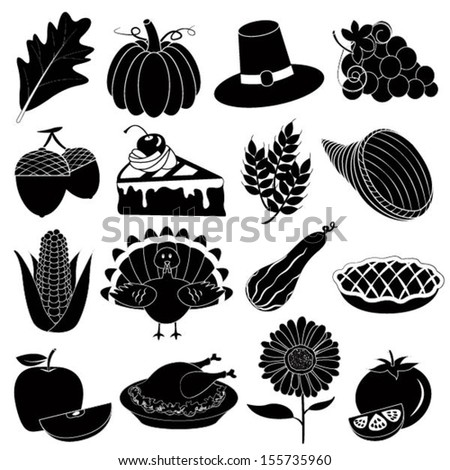 Thanksgiving Icons Vector Set - stock vector