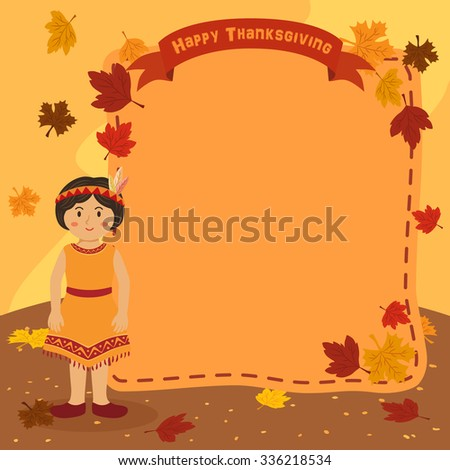 Thanksgiving Indian Girl Notes. Illustration of thanksgiving greeting card banner notes with a short hair native american girl in autumn background. - stock vector