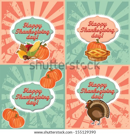 Thanksgiving invitation and label card set, vector design - stock vector
