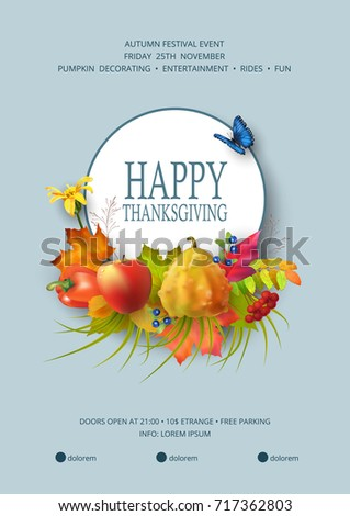 Thanksgiving invitation card autumn festival flyer stock vector hd thanksgiving invitation card autumn festival flyer or poster template usable for any kind of stopboris Images