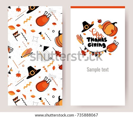 Thanksgiving invitation cards in 80s memphis style. Happy thanksgiving posters. Vector illustration
