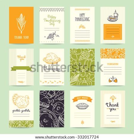 Thanksgiving party invitation and greeting card, flyer, banner, poster templates. Hand drawn traditional symbols, cute design elements, handwritten ink lettering. Orange and green vector collection. - stock vector