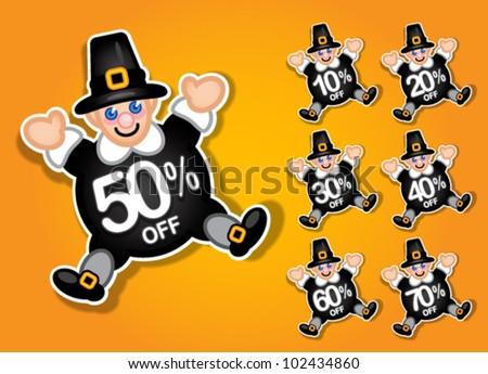 Thanksgiving Pilgrim Vector Discount Stickers / Labels - stock vector