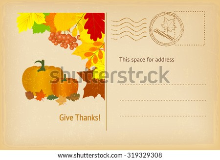 Thanksgiving postcard in vintage style. Vector illustration. - stock vector