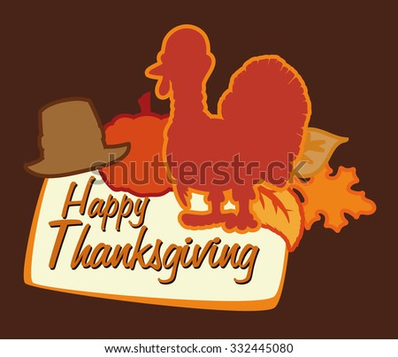 Thanksgiving poster with turkey, hat, pumpkin and leaves silhouettes.