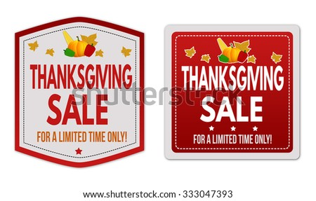 Thanksgiving Sale stickers set on white background, vector illustration