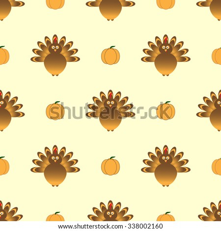 Thanksgiving seamless pattern with beautiful cartoon of a turkey bird and pumpkins on the yellow background. Happy Thanksgiving Day celebration on stylish nature background.