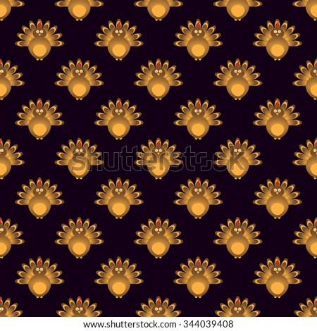 Thanksgiving seamless pattern with beautiful cartoon of a turkey birds on the black background. Happy Thanksgiving Day celebration on stylish nature background. - stock vector