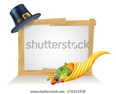 Thanksgiving sign and golden horn of plenty cornucopia full of vegetables and fruit produce with a pilgrim or puritan thanksgiving hat - stock vector