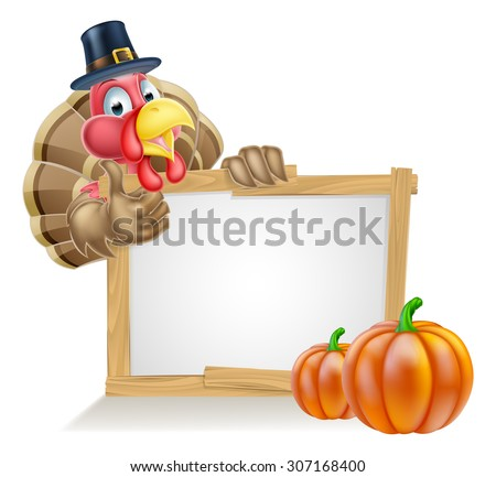 Thanksgiving sign with cartoon turkey bird wearing a pilgrim or puritan thanksgiving hat with pumpkins - stock vector
