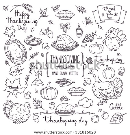 Thanksgiving traditional symbols in doodle style. Collection of hand drawn design elements for greeting card, invitation, poster templates: food and drink, pumpkin pie, turkey, corn, lettering.  - stock vector