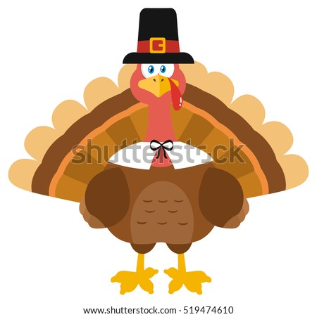 Thanksgiving Turkey Bird Wearing A Pilgrim Hat. Vector Illustration Flat Design Isolated On White Background