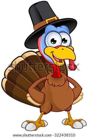 Thanksgiving Turkey Character - stock vector