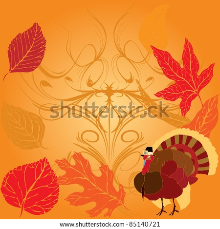 Thanksgiving Turkey over Autumnal background