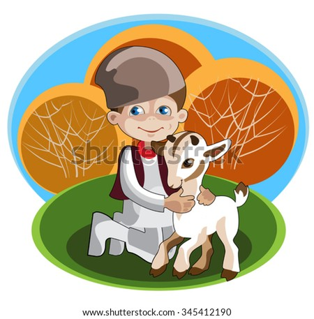 The a boy - shepherd in national costume 