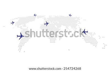 the abstract dotting the map with aircraft flights - stock vector