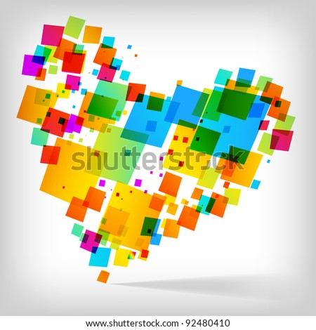the abstract heart colorful background - vector illustration