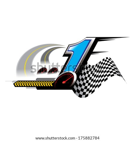 The abstract of number 1 speed Concept vector - stock vector