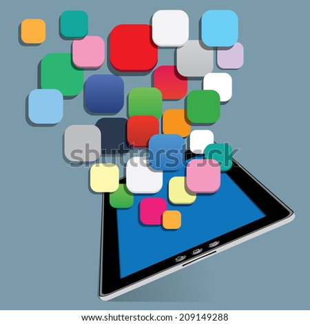 The abstract of tablet with blank application vector