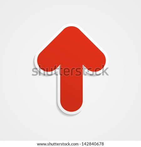 The abstract red arrow icon. Vector illustration. - stock vector