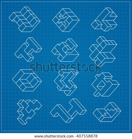The abstract three-dimensional cube as an element of design blueprint template - stock vector