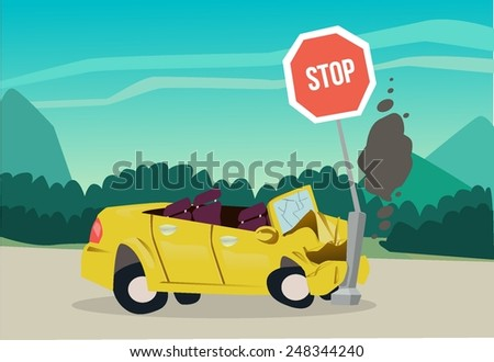 The accident on the road - stock vector