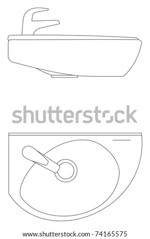 The adaptation for washing hands in a bath, toilet room - stock vector