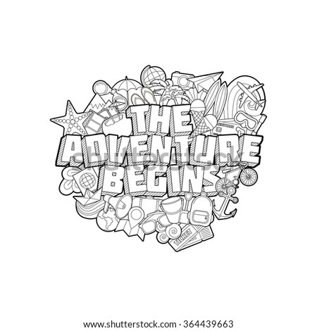 The Adventure Begins - Hand Lettering and Doodles Elements Sketch Isoleted. Motivation Print