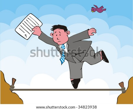 The Allegorical scene of the businessman, which risks. Weakness, vagary of the business - stock vector