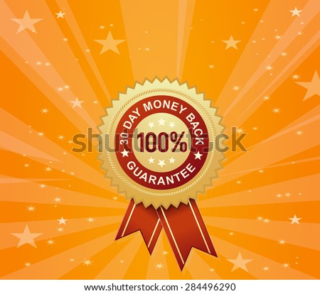 """The Almighty """"100% Money-Back Guarantee"""" Stamp for Your Sales - stock vector"""