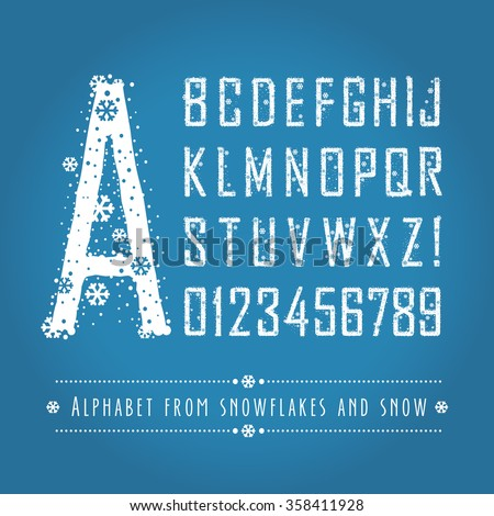 The alphabet letters and numbers from snowflakes and snow. Set. Eps8. Zero 0 One 1 Two 2 Three 3 Four 4 Five 5 Six 6 Seven 7 eight 8 nine 9.