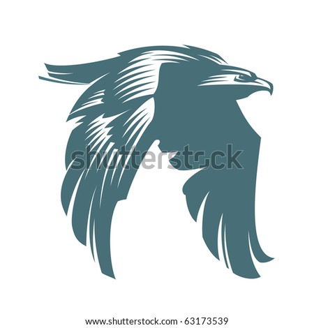 The American bald eagle in flight. Vector Graphics