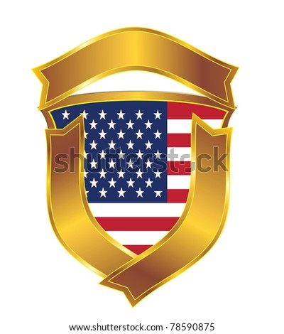 The American flag in an emblem
