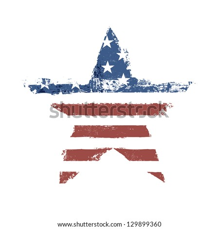 The American flag print as star shaped symbol. Vector, EPS10. - stock vector