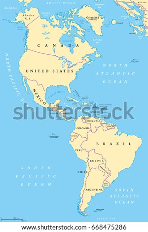 Americas north south america political map stock vector 668475286 the americas north and south america political map with countries and international borders of gumiabroncs Gallery