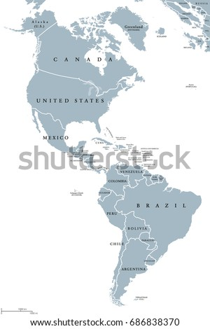 Americas Political Map Countries Borders Two Stock Vector
