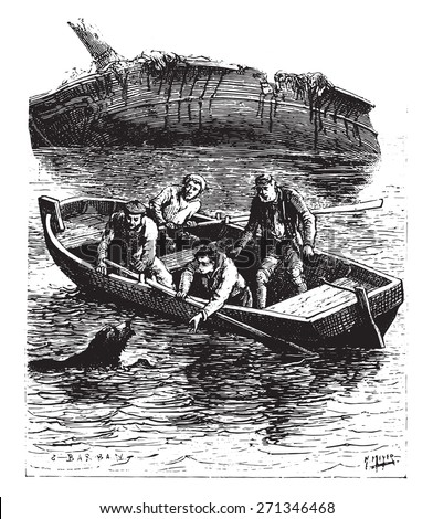 The animal swam painfully toward the boat, vintage engraved illustration.  Jules Verne, a 15 year old captain.  - stock vector