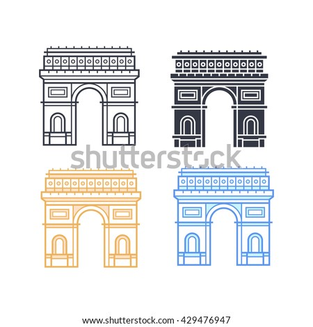 The Arc de Triomphe icons. Triumphal arch in four different styles. Symbol of Paris. Vector illustration