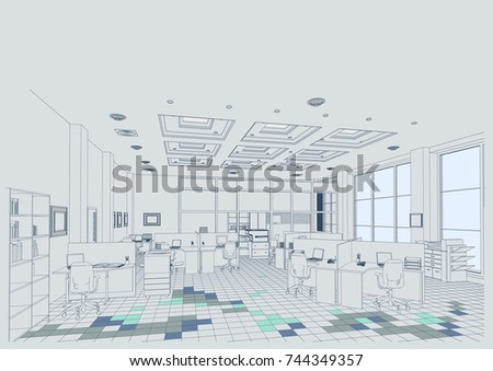 The architectural design of the office, interior, tables,computers, jobs. Vector