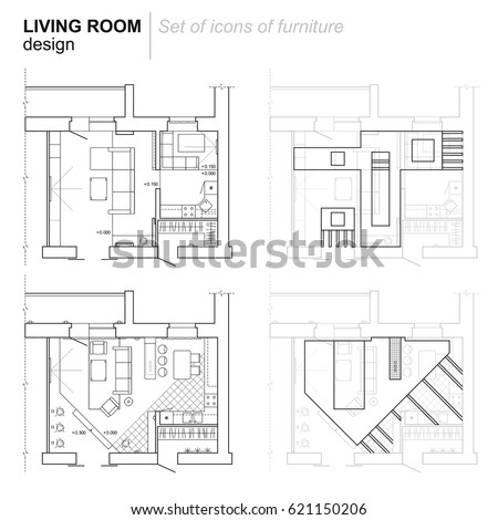Architectural Plan Layout Apartment Furniture Drawing Stock Vector ...
