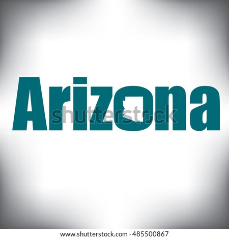 The Arizona shape is within the Arizona name in this state graphic