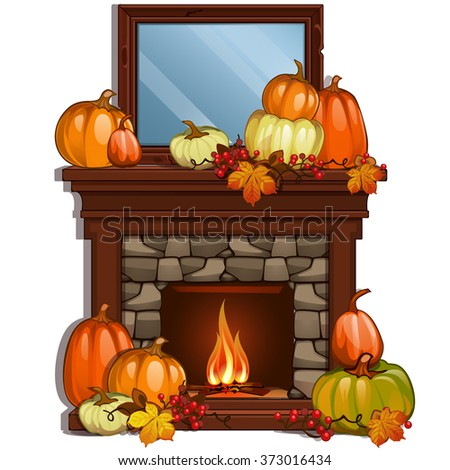 The arrangement on the fireplace are ripe pumpkin. A generous harvest. Vector. - stock vector