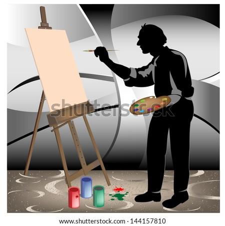 the artist in the studio - stock vector