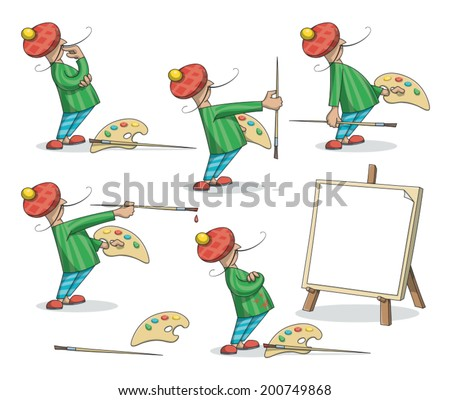 The artist with palette and brush paints a canvas,  set of illustrations  You can use these images for web, presentations, info graphics, etc. - stock vector