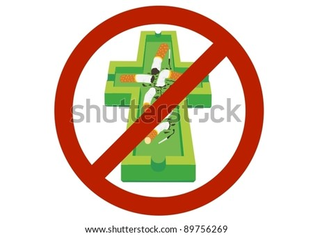 The ashtray and cigarette for the prohibitory sign. - stock vector