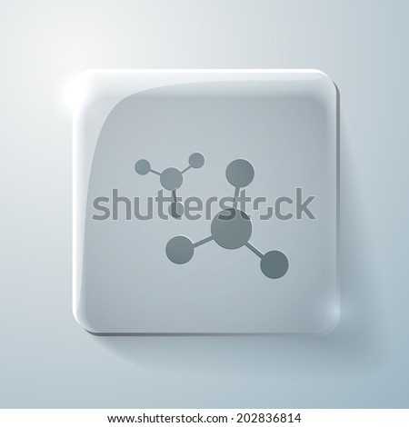 the atom, molecule. the symbol of physics and chemistry. Glass square icon with highlights - stock vector
