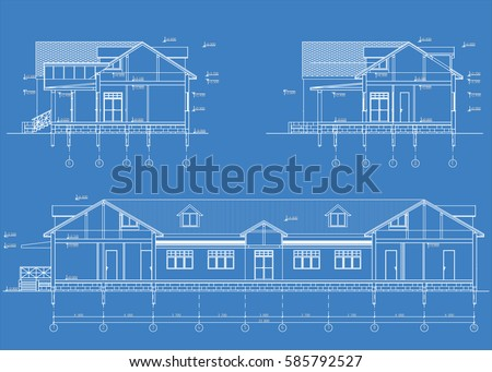 Authors architectural project country hotel blueprint stock vector the authors architectural project of the country hotel the blueprint of cross section malvernweather Choice Image