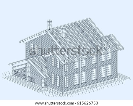 Authors project blueprint wooden house glued stock vector 615626753 the authors project blueprint of a wooden house from glued profiled beam with the rafters malvernweather Gallery