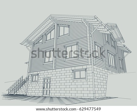 Authors project blueprint wooden house glued stock vector 629477549 the authors project blueprint of a wooden house from glued profiled beam with the rafters malvernweather Images